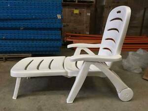 White Outdoor Pool Lounge Resin Chair with Separate Footrest Guildford Parramatta Area Preview