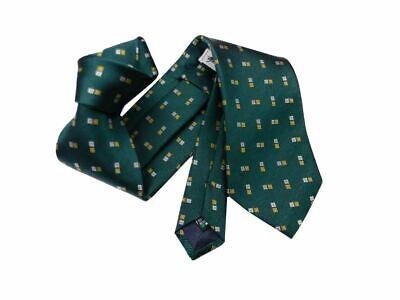 Cravatta uomo verde bosco luminoso disegni beige giallo oro seta