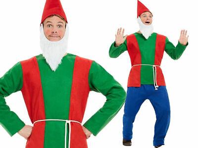 Herren Grün Gnome Kostüm Zwerg Elfe Elve Garten Kostüm Outfit Erwachsene Neu