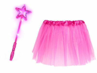 Prinzessinen Kostüm für Mädchen (Kv-177) Leucht-Stern, Tüllrock - Pink (Sterne Mädchen Kostüm)