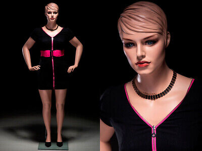 Plus Size Adult Female Mannequin With Realistic Facial Details And Molded Hair
