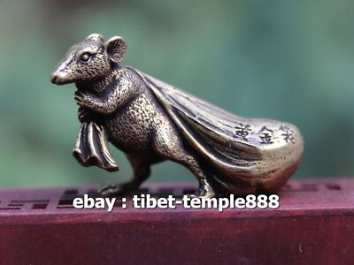 6 Cm Pure Bronze Chinese Zodiac Animal Rat Mouse Bring Wealth Sack Amulet Statue