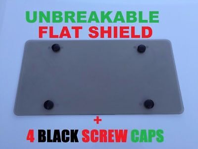 UNBREAKABLE TINTED SMOKE FLAT LICENSE PLATE TAG HOLDER FRAME BUMPER SHIELD COVER