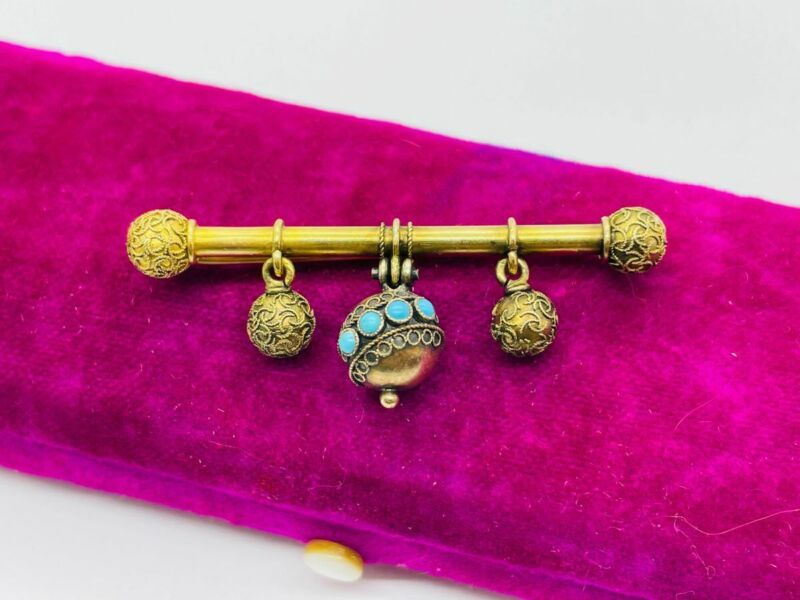 Antique Victorian Etruscan Revival 14K Gold Turquoise Drop Dangle Pin Brooch