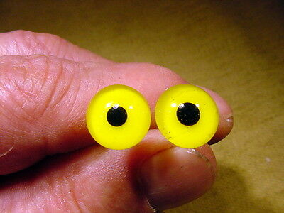 a pair vintage solid Glass Eyes size 6 mm teady bear taxidermy age 1910 Art A65