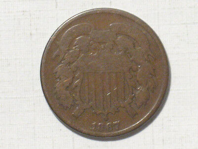 1867 TWO CENT PIECE - OLD TYPE UNITED STATES COIN - 2 CENTS