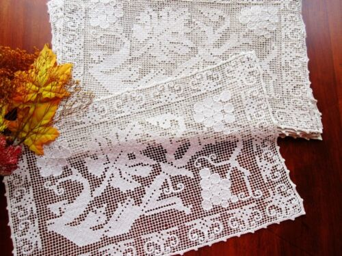 WEDDING SET 10 Vintage Handmade Italian Lace Placemats Grapes Vineyard