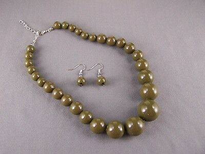 Olive Green graduated round bead beaded choker necklace earrings set 15