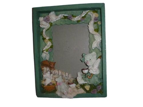 PICTURE FRAME 3D Teddy Bear Cat Dog Purple Flowers 8 X 6 Heavy Resin NWT - $2.99