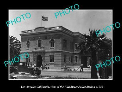 OLD POSTCARD SIZE PHOTO OF LOS ANGELES CA THE LAPD 77th St POLICE STATION 1930