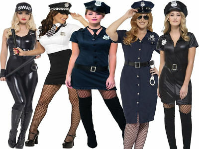 Adult Police Lady Officer Costume Women Cop Fancy Dress Outfit British Woman