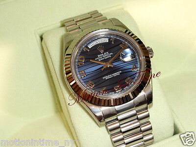 "Rolex Day-Date II 18kt White Gold 41mm President Blue Arabic ""Wave"" Dial  218239"