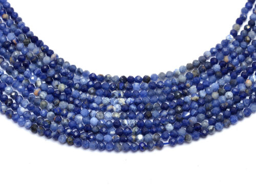 """Natural AAA+ Sodalite Gemstone 2mm-3mm Micro Faceted Rondelle Beads 13"""" strand"""