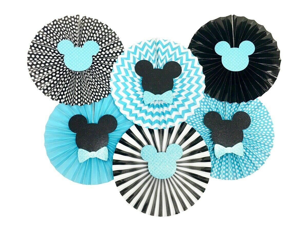 Mickey Mouse Blue and Black Paper Fans, Birthday Baby Shower