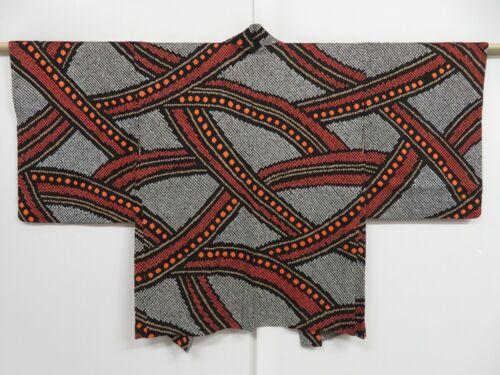 1020i03z510 Vintage Japanese Kimono Silk SHIBORI HAORI Black