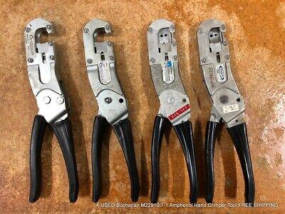 4 Used Buchanan M229107-1 Amphenol Hand Crimper Tools Free Shipping