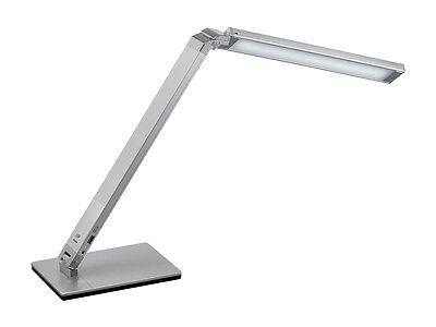 - Silver Aluminum LED Desk Lamp Adjustable Arms & Brightness w/ USB Charging Port