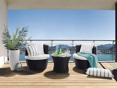 Designer Rattan Gartenmöbel Set kleine kompakte Sitzmöbel braun weiß für Balkon