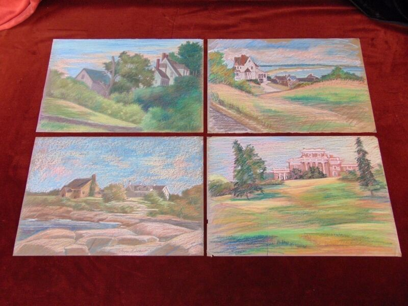 4 Pastel Drawings LANDSCAPES WITH HOUSES Outdoor Field Sketches M MILLEN Art