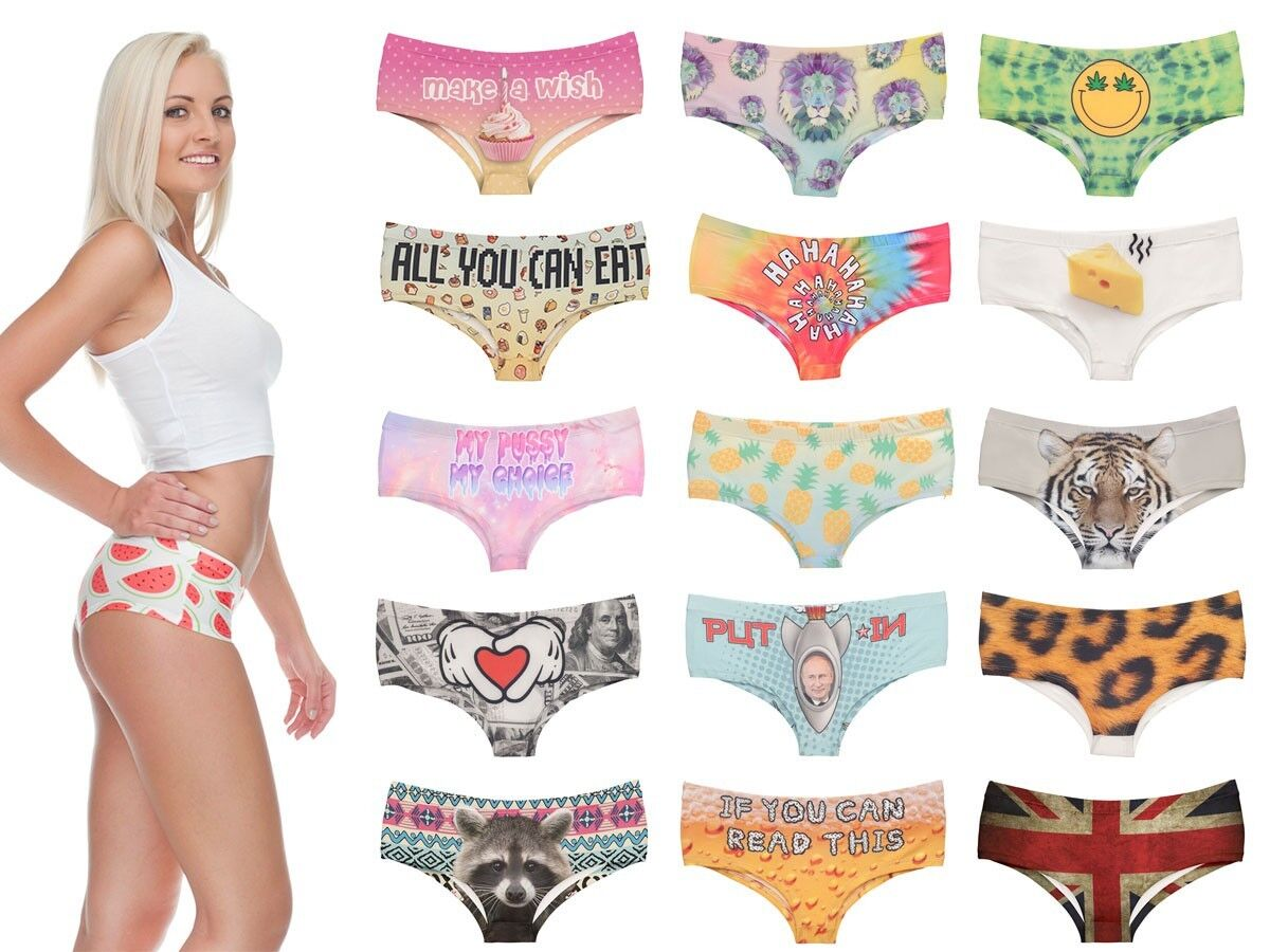 Pantys Slip Allover Print Unterhose Unterwäsche Hipster Damen Pants 3D Motiv