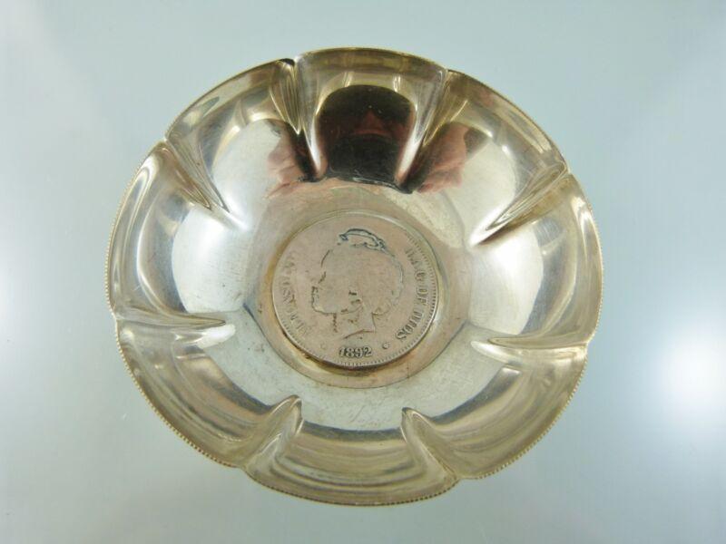 1892 SPAIN SILVER COIN BOTTOM TASTE AU VIN or WINE TASTER unbranded