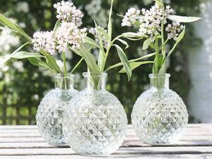 SHABBY CHIC FLOWER VINTAGE ANTIQUE  FRENCH GLASS BUD VASE NAME HOLDER WEDDING