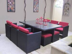 Space Saving Compact Outdoor Wicker 10 Seat Dining Setting Wangara Wanneroo Area Preview
