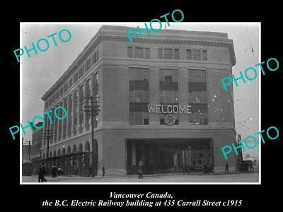 OLD LARGE HISTORIC PHOTO OF VANCOUVER CANADA, THE BC ELECTRIC BUILDING c1915
