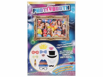 Photobooth lustig P329001 12 Teile Foto-Box Kostüme Selfies Brille Fliege Bärte