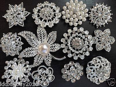 12 pcs vintage style Lot rhinestone crystal brooch bridal wedding bouquet kit