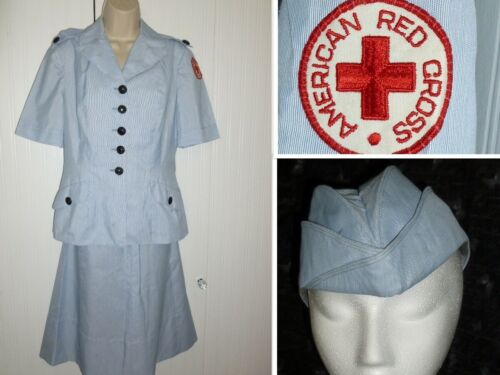 Vintage 1940s Red Cross Nurses Uniform WW2 United States RED CROSS Dress Hat