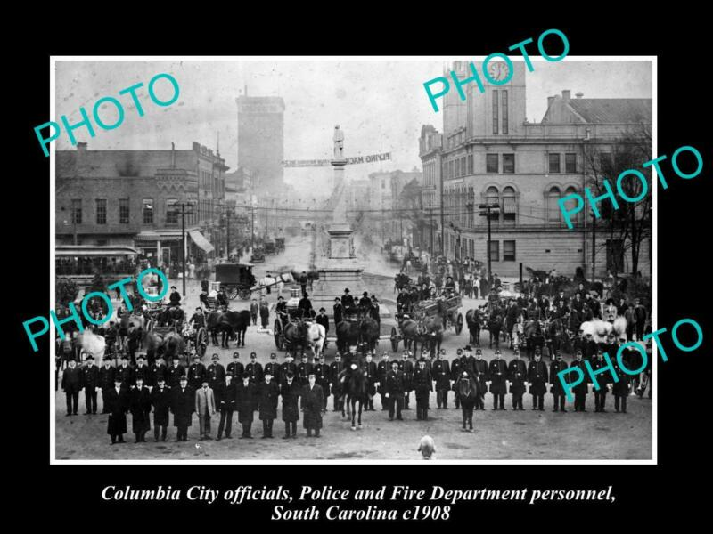 OLD POSTCARD SIZE PHOTO OF COLUMBIA SOUTH CAROLINA POLICE & FIRE BRIGADE c1908