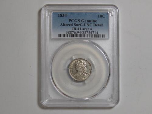 1834 Capped Bust Dime - JR-4 Large 4 - PCGS UNC Detail