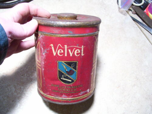 Vintage Velvet Pipe Tobacco Metal Canister Tin