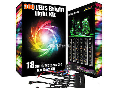 Addmotor 18X LED Light Strips Set Multi-color RGB Touring Motorcycle Remote Kit