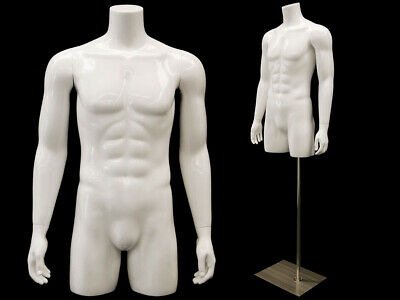 Male Adult 34 Fiberglass Glossy White Headless Mannequin Torso With Metal Stand
