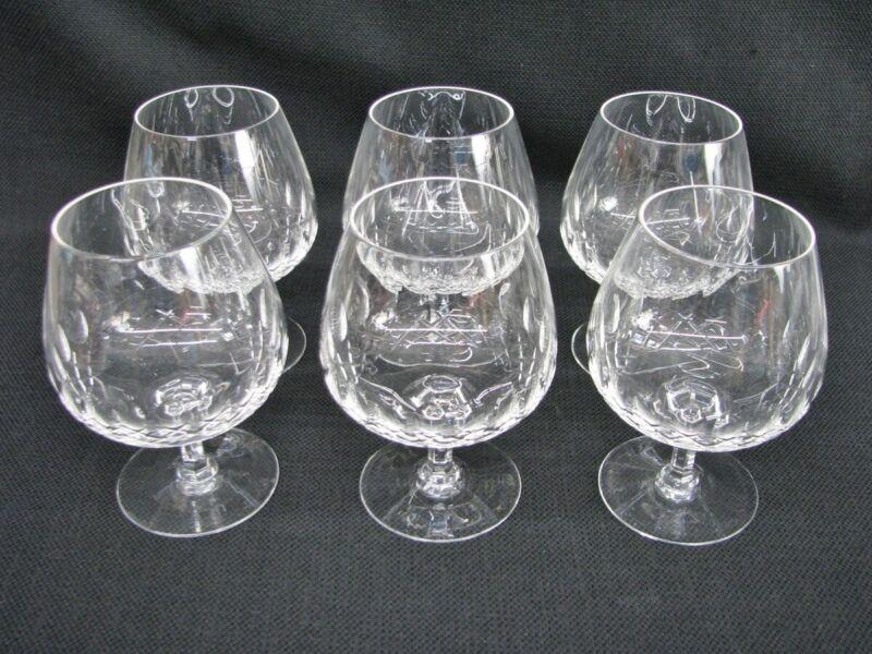 6 Brandy Cognac Snifter; Crystal Cut with Contemporary Teardrop X Design; Mint