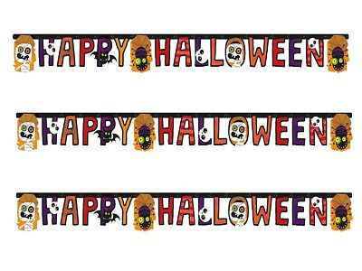 X 3 HAPPY HALLOWEEN LETTER BANNER - SPOOKY SCARY  PARTY GARLAND DECORATION