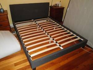Dark grey/navy fabric queen bed frame Pascoe Vale Moreland Area Preview