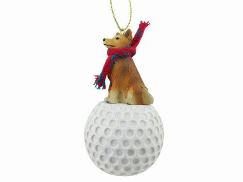 Finnish Spitz Dog Golf Sports Figurine Ornament