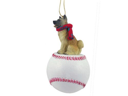 Akita Inu Dog Fawn Baseball Sports Figurine Ornament