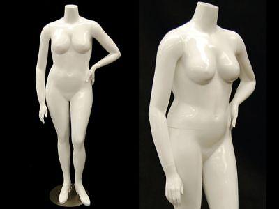 Female Full Body Plus Size Mannequin - Headless - Fiberglass Glossy White Finish