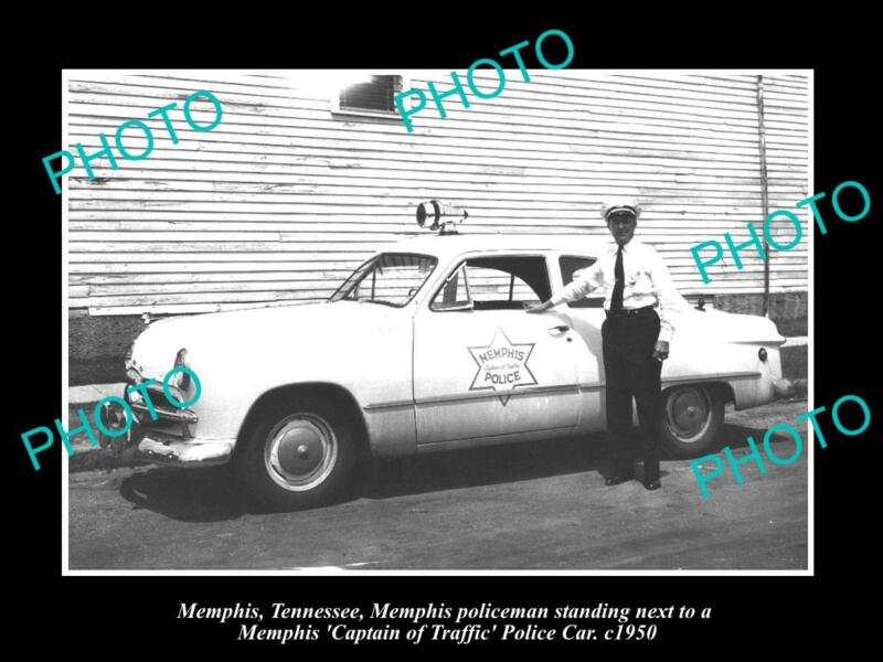OLD POSTCARD SIZE PHOTO OF MEMPHIS TENNESSEE THE TRAFFIC POLICE CAR c950