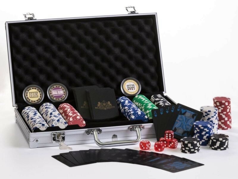 Premium Poker Set W/ Aluminum Carry Case. PVC Waterproof Cards, Metal Buttons