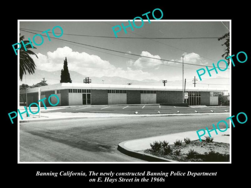 OLD 8x6 HISTORIC PHOTO OF BANNING CALIFORNIA THE POLICE DEPARTMENT H/Q c1960