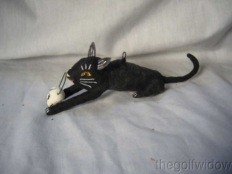 Vintage Inspired Spun Cotton Black Cat with Skull Vintage by Crystal no. HW 18