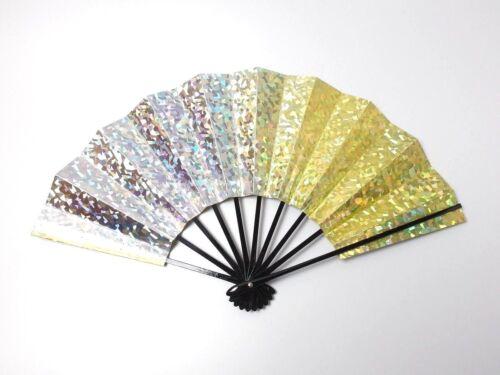 Japanese antique vintage yellow silver Maisen Ougi Sensu folding fan chacha