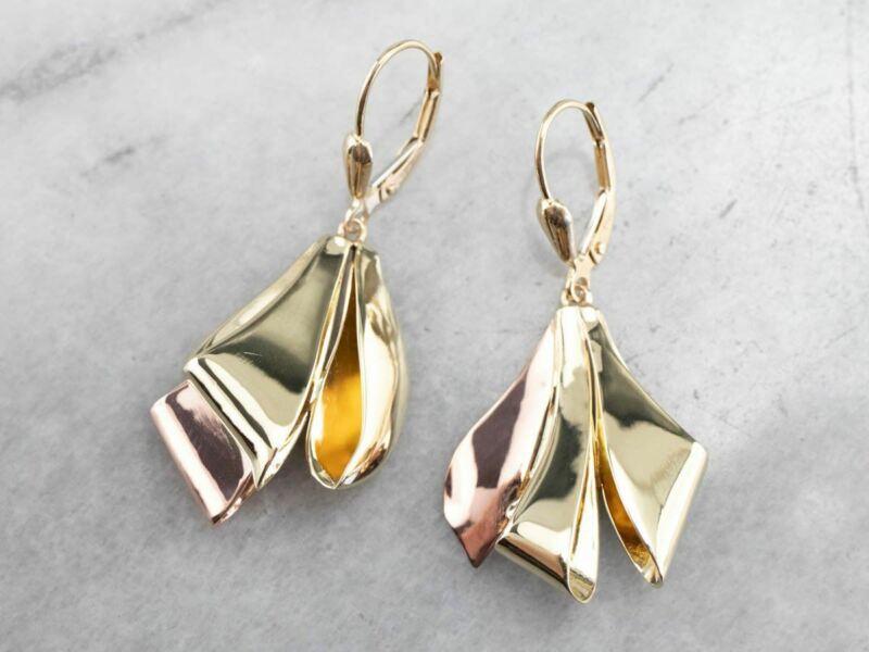 Two Tone Gold Ribbon Drop Earrings