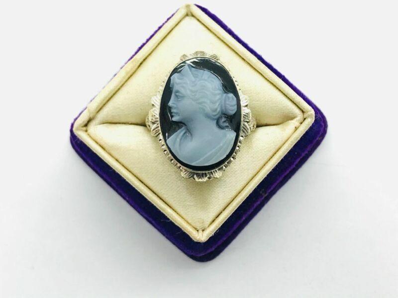 Art Deco 14K White Gold Black Hardstone Cameo Filigree Floral Ring