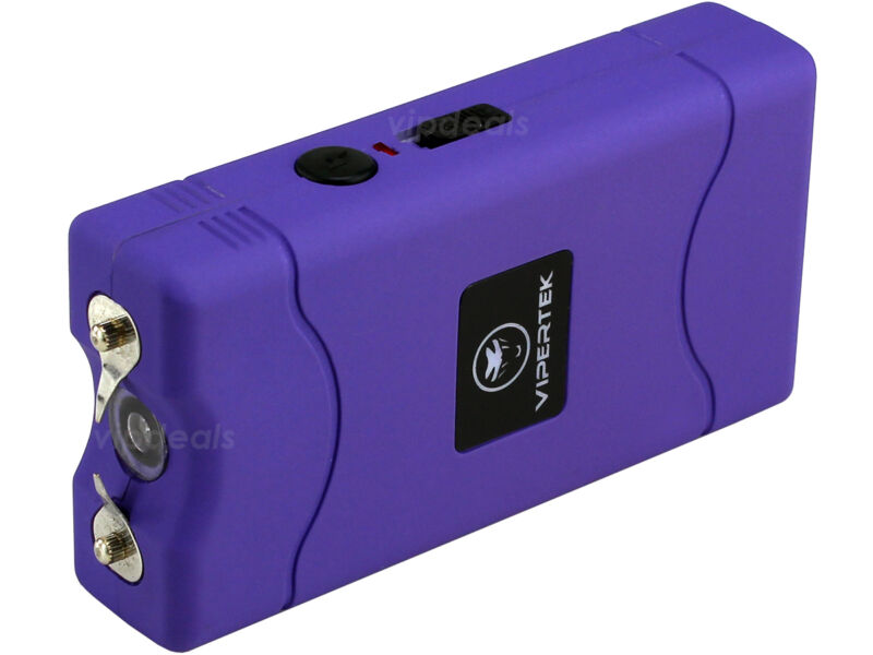 VIPERTEK PURPLE VTS-880 50 BV Mini Rechargeable LED Police Stun Gun Taser Case